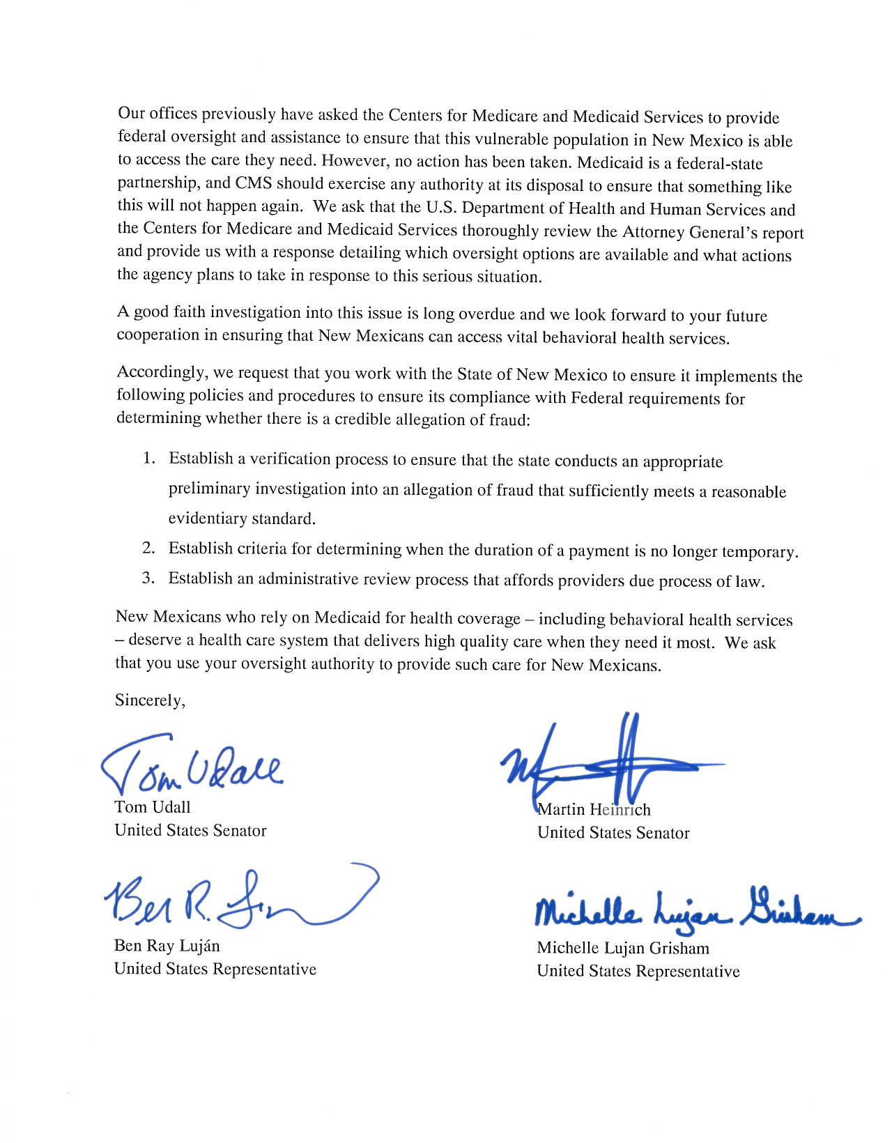 Senate Democrats Join Congressional Democrats in Request for – Good Faith Payment Letter
